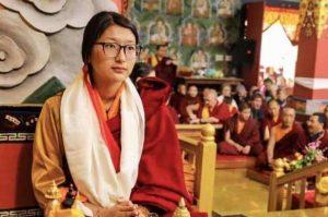 Khandro Tashi Chotso during the enthronement ceremony. From Dilgo Khyentse Fellowship - Shechen Facebook
