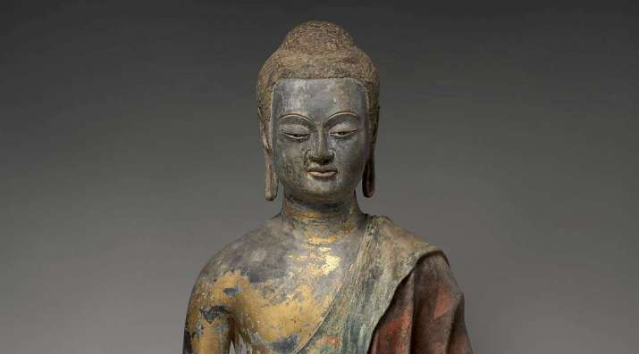 Buddha statue, probably Amitabha, early seventh century. From metmuseum.org